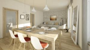 Moderní byt s dřevným dekorem, prostřeným stolem a kočkou na zemi