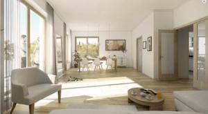Moderní byt s dřevným dekorem a kočkou na zemi