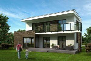 Dvoupratrový dům s balkonem a terasou. Před domem je matka s dítětem