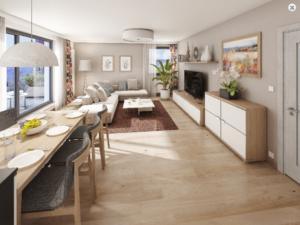 Luxusně vybavený byt s terasou s dřevěným nábytkem a prostřeným stolem
